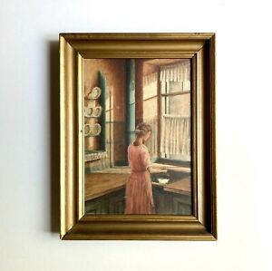 Charming Antique Danish Painting Interior Kitchen Scene Unsigned 1920s Art Deco