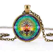 Tree Of Life Cabochon Glass Bronze Pendant Necklace for men woman jewelry