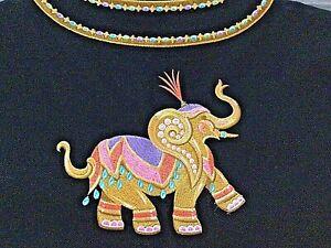 Bob Mackie Wearable Art Embroidered Elephants Women's Black   Size L