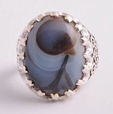 Silver agate aqeeq Men Ring-Middle Eastern-yemen-yemeni