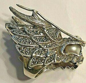 925er Silber Ring Drache  Gothic mit Smaragd Rubin Markasiten  Extrem Massiv