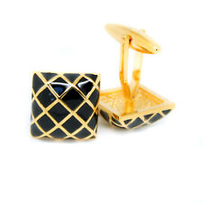 Vintage Cufflinks Black and Gold Colour Square Wedding Mens Pair Cuff Links