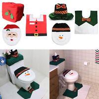 4Pcs/set Christmas Decor Bathroom Toilet Seat Cover + Rug Santa Rug Decor Mat