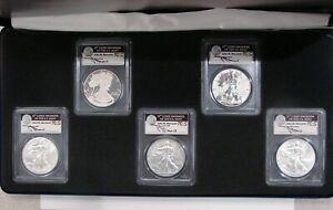 2011 5pc Silver American Eagle 25th Anniversary Set - PCGS MS PR 70 FS Mercanti