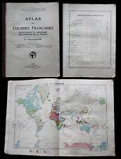 ATLAS COLONIES FRANCAISES ET PROTECTORATS 1934 GRANDIDIER Cartes Couleurs