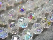 25 Crystal AB Czech Firepolish Rosebud Glass Beads 7x8mm