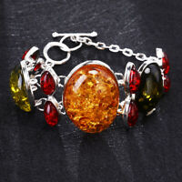 Lady Vintage Retro Yellow Silver Baltic Amber Bracelet Bangle Chain Jewelry Gift