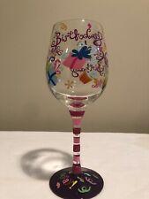 Top Shelf Happy Birthday Wine Glass Pink Purple Glitter