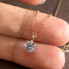 1.0Carat 6.5mm DF Color Round Moissanite Engagement Pendant Real 14K Yellow Gold