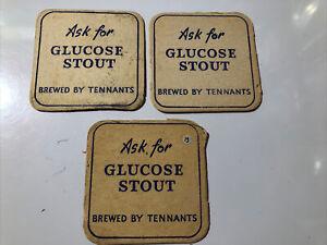 3 x Tennants Brewery Beer Mats Glucose Stout (7.3)