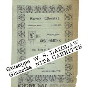 1891 ODD CAST Gondoliers Savoy Theatre programme D'Oyly Carte Gilbert & Sullivan
