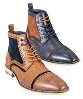Men's Designer Tan Brown Navy Blue High Ankle Lace Up Suede Leather Brogue Boots
