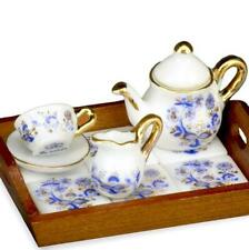 DOLLHOUSE Tea for One with Tiled Tray 1.319/6 Reutter Blue Onion Miniature