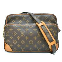 Authentic Louis Vuitton Monogram Shoulder Crossbody Bag Pochette Brown Nile LV