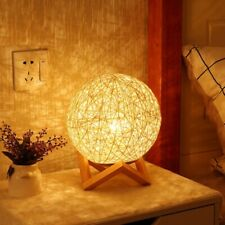 Night Light Lamp Led Gift Usb Table For Home Bedroom Decoration 1pc Wood Rattan