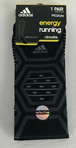 adidas Climalite Mens Womens M energy Running Over Calf Socks Black Reflective