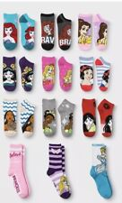 NWT GIRLS 12 PACK OF DISNEY PRINCESS  SOCKS SIZE L (SHOE SIZE 3-10)