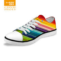 Colorful Stripe Canvas Sneakers Lace Up Shoes Low Top School Walking Trainers