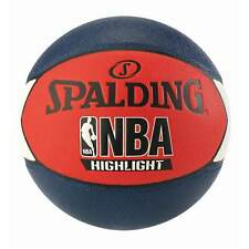 Spalding NBA Highlight Basketball Size 7 Rubber Outdoor Game Ball Red White Blue
