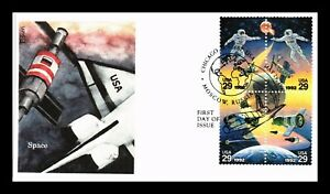DR JIM STAMPS US SPACE COOPERATION COMBO UNSEALED FDC COVER BLOCK EDKEN