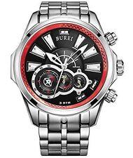 BUREI® Men's Luminous Hands Chronograph Quartz Watch with Link Bracelet, Silver