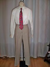 AXCESS TAN FLAT FRONT TAILORED CAREER MAN'S MUST HAVE PANTS 32/32 NWT CLASSIC