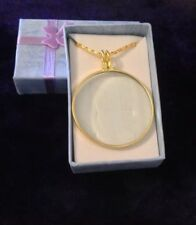 "GoldTone Monocle 5X Magnifying Glass Pendant Necklace 36"" Twist Chain"