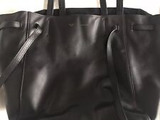 Auth CELINE Small Cabas Phantom with Belt Black Leather Tote Bag