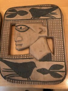 VINTAGE WOODEN HAND CARVED AFRICAN WALL HANGING