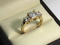 2.05 Ct Princess Cut Bridal Diamond Engagement Ring 18K Solid Yellow Gold Rings