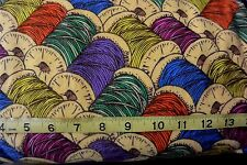 Wooden Spools of Thread Sewing Thread Pack Allover Cotton Flannel Fabric BTY