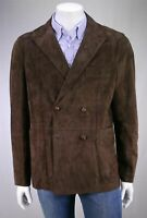 Men's Lambskin Leather Brown Blazer Double Breasted Suede Jacket TWO BUTTON Coat