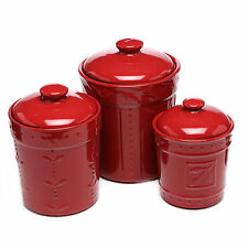 Antique Ceramic Canisters Set Of 3 Red Retro Jars Lid Set Kitchen Storage Decor