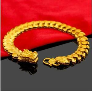Men's Dragon  22K 23K 24K THAI BAHT YELLOW GOLD GP Bracelet 8.5inch30g