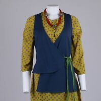 Gudrun Sjoden Teal Green Lightly-Quilted Wrap Sleeveless Top Waistcoat S