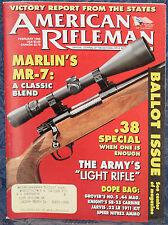 Magazine American Rifleman, FEBRUARY 1996 !!! MARLIN Model MR-7 RIFLE !!!