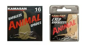 Kamasan Animal Barbless Hooks: Spade or Eyed Clearance Packs *50% off*