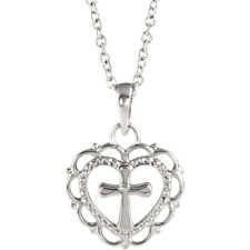 """Heart with Cross Youth 18"""" Necklace In 14K White Gold"""