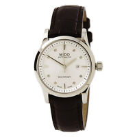 Mido Women's Watch Multifort Diamond Silver Tone Dial Black Strap M0050071603620