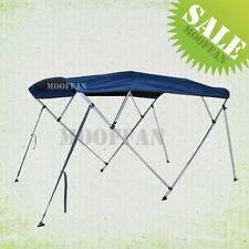 New 4 Bow 8 ft Boat Bimini Top 79''-84'' Free Clips 600D Blue Canopy Cover MB4N1