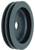 SBC Small Block Chevy Black Aluminum Short Water Pump 2 Groove Crank Pulley  V8