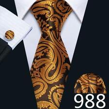 Classic Red Black Blue Mens Tie Paisley Stripe Silk Necktie Set Wedding Jacquard