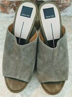 Dolce Vita Barric Open Toe Wedge Platform Sandal Shoe Sz 9 EUC Olive Suede Box