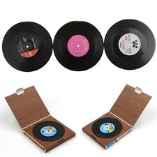 WOW 6pcs  Vinyl Coaster Groovy Record Cup Drinks Holder Mat Tableware Placemat