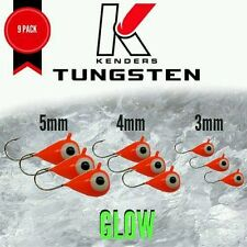 TUNGSTEN JIGS Kenders Outdoors ORANGE GLOW -9 Pack - 3mm, 4mm, 5mm ICE FISHING