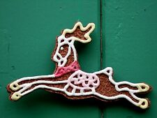 "LARGE 7""  Gingerbread REINDEER Christmas Tree Ornament LOADED W/ GLITTER"