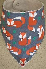 Handmade Bandana bib- foxes on grey