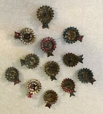 Lot of 12 Antique Metal Christmas Tree Candle Clips with Fish Designs