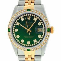 Rolex Watch Mens Datejust Steel - 18K Yellow Gold Green Diamond Dial and Bezel