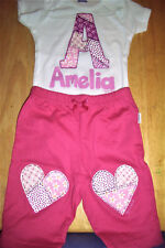Personalized Baby Girl Pants Set, Baby Girl Initial Outfit, Handmade